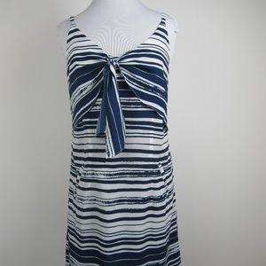 Cabi #5264 Knot Dress, Blue & White, Size Medium